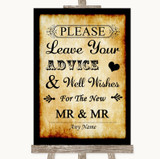 Western Guestbook Advice & Wishes Gay Customised Wedding Sign