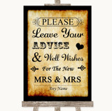 Western Guestbook Advice & Wishes Lesbian Customised Wedding Sign