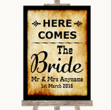 Western Here Comes Bride Aisle Sign Customised Wedding Sign