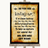 Western Instagram Photo Sharing Customised Wedding Sign