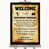 Western No Phone Camera Unplugged Customised Wedding Sign