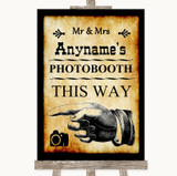 Western Photobooth This Way Left Customised Wedding Sign