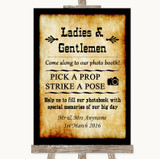 Western Pick A Prop Photobooth Customised Wedding Sign