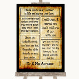 Western Romantic Vows Customised Wedding Sign