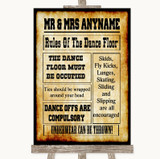 Western Rules Of The Dancefloor Customised Wedding Sign