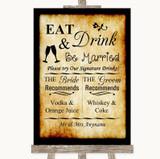 Western Signature Favourite Drinks Customised Wedding Sign