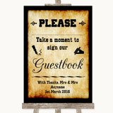 Western Take A Moment To Sign Our Guest Book Customised Wedding Sign