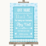 Winter Blue Thank You Bridesmaid Page Boy Best Man Customised Wedding Sign