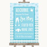 Winter Blue Alcohol Bar Love Story Customised Wedding Sign