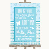 Winter Blue All Family No Seating Plan Customised Wedding Sign