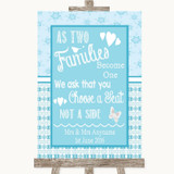 Winter Blue As Families Become One Seating Plan Customised Wedding Sign