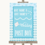 Winter Blue Card Post Box Customised Wedding Sign