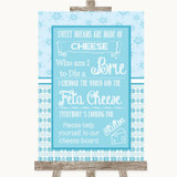 Winter Blue Cheese Board Song Customised Wedding Sign