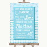 Winter Blue Cheesecake Cheese Song Customised Wedding Sign