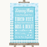 Winter Blue Dancing Shoes Flip-Flop Tired Feet Customised Wedding Sign