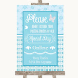 Winter Blue Don't Post Photos Online Social Media Customised Wedding Sign