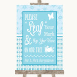 Winter Blue Fingerprint Tree Instructions Customised Wedding Sign