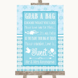 Winter Blue Grab A Bag Candy Buffet Cart Sweets Customised Wedding Sign