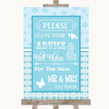 Winter Blue Guestbook Advice & Wishes Mr & Mrs Customised Wedding Sign