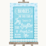 Winter Blue Hankies And Tissues Customised Wedding Sign