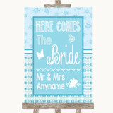 Winter Blue Here Comes Bride Aisle Sign Customised Wedding Sign