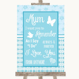 Winter Blue I Love You Message For Mum Customised Wedding Sign