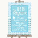 Winter Blue Important Special Dates Customised Wedding Sign