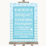Winter Blue Instagram Photo Sharing Customised Wedding Sign