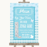 Winter Blue Jenga Guest Book Customised Wedding Sign