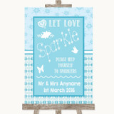 Winter Blue Let Love Sparkle Sparkler Send Off Customised Wedding Sign
