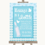 Winter Blue Message In A Bottle Customised Wedding Sign
