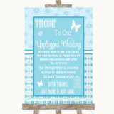 Winter Blue No Phone Camera Unplugged Customised Wedding Sign