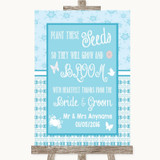 Winter Blue Plant Seeds Favours Customised Wedding Sign