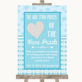 Winter Blue Puzzle Piece Guest Book Customised Wedding Sign
