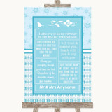 Winter Blue Romantic Vows Customised Wedding Sign
