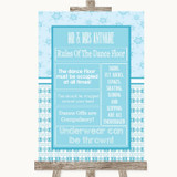 Winter Blue Rules Of The Dance Floor Customised Wedding Sign