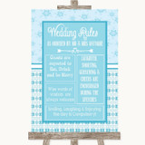 Winter Blue Rules Of The Wedding Customised Wedding Sign