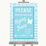 Winter Blue Signing Frame Guestbook Customised Wedding Sign