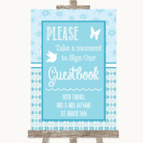 Winter Blue Take A Moment To Sign Our Guest Book Customised Wedding Sign