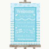 Winter Blue Welcome Order Of The Day Customised Wedding Sign
