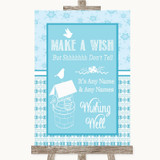 Winter Blue Wishing Well Message Customised Wedding Sign