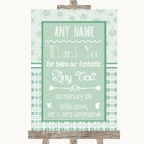 Winter Green Thank You Bridesmaid Page Boy Best Man Customised Wedding Sign