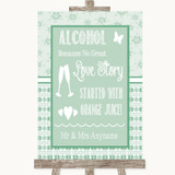 Winter Green Alcohol Bar Love Story Customised Wedding Sign