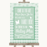Winter Green All Family No Seating Plan Customised Wedding Sign