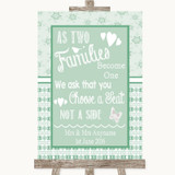 Winter Green As Families Become One Seating Plan Customised Wedding Sign
