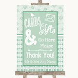 Winter Green Cards & Gifts Table Customised Wedding Sign