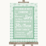Winter Green Cheese Board Song Customised Wedding Sign