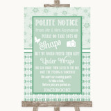Winter Green Don't Post Photos Facebook Customised Wedding Sign