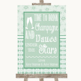 Winter Green Drink Champagne Dance Stars Customised Wedding Sign