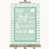Winter Green Fingerprint Tree Instructions Customised Wedding Sign